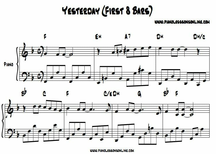 Yesterday piano chords